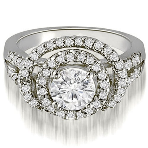 1.65 cttw. 14K White Gold Double Halo Round Cut Diamond Engagement Ring