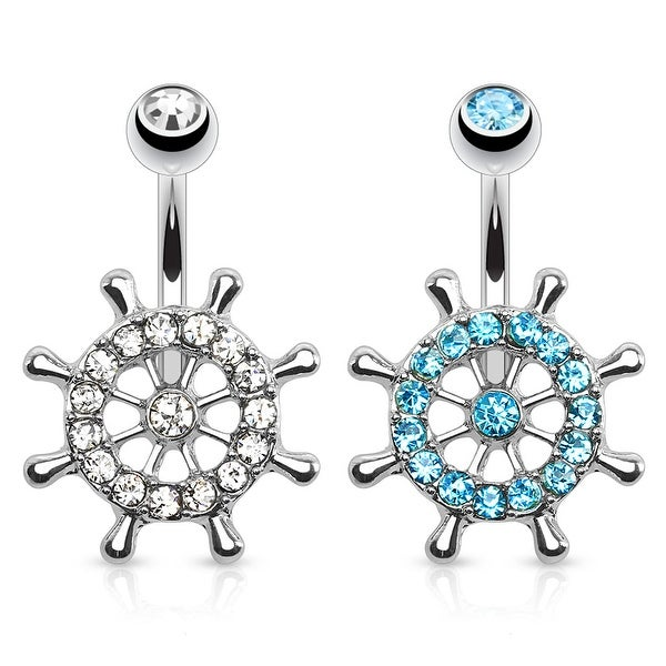 Ship Wheel Paved CZ 316L Surgical Steel Navel Ring