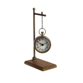 Pack of 2 Bronze Rustic Hanging Analog Clock with Globe Face and Wood Base Stand 13