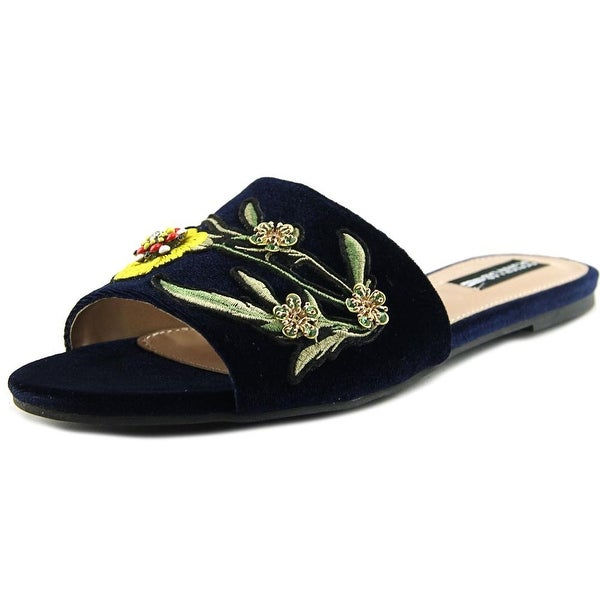 Design Lab Lord & Taylor Fleur Women Open Toe Synthetic Blue Slides Sandal