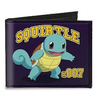 Squirtle #007 Pose + Logo Purple Gold Canvas Bi Fold Wallet One Size - One Size Fits most