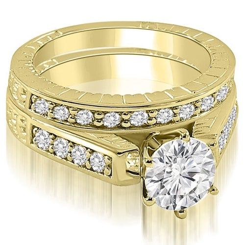 1.05 cttw. 14K Yellow Gold Antique Cathedral Round Cut Diamond Bridal Set