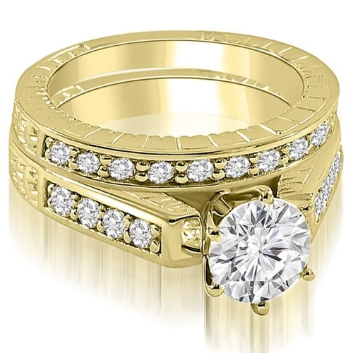 1.55 cttw. 14K Yellow Gold Antique Cathedral Round Cut Diamond Bridal Set