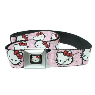 Hello Kitty Faces Pink Seatbelt Belt-Holds Pants Up