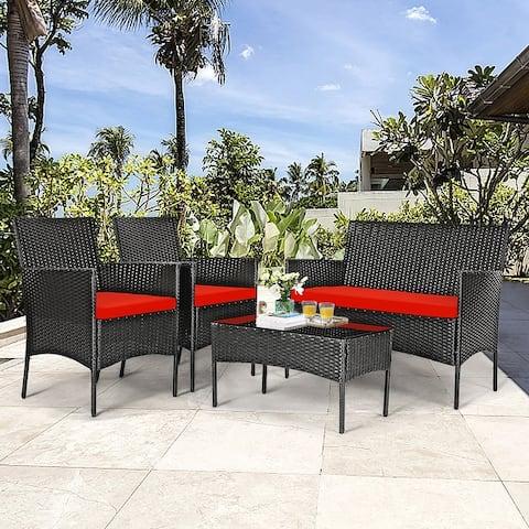 4 PCS Patio Furniture Set Rattan Sofa & Chairs Set