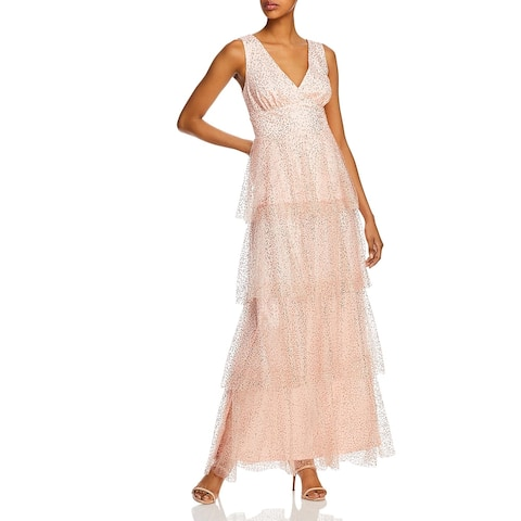 Laundry by Shelli Segal Women's Sequined Tiered Sleeveless V-Neck Gown - Blush