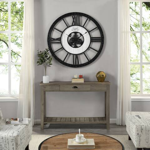 FirsTime & Co.® Lowell Large Shiplap Farmhouse Clock, American Crafted, Distressed Black, Plastic, 40 x 2 x 40 in