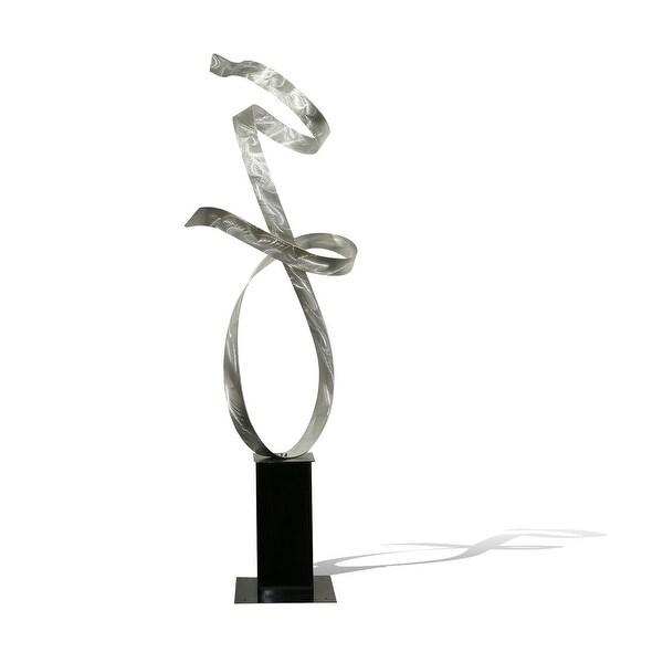 "48"" Silver Modern Metal Sculpture - Indoor / Outdoor Yard Décor by Jon Allen - Silver Allure"