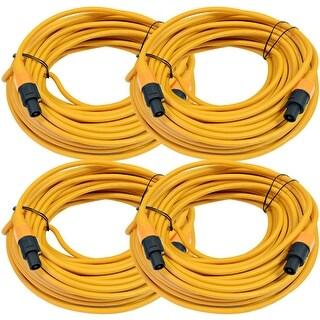 SEISMIC AUDIO 4 Pack of 12 Gauge 100' Orange Speakon to Speakon Speaker Cables