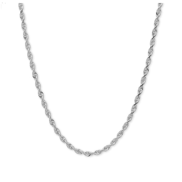 Mcs Jewelry Inc Sterling Silver White 925 Diamond Cut Rope Chain Necklace (2.2mm)