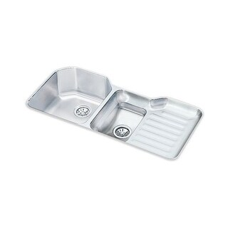 """Elkay ELUH4221LDBG Harmony Lustertone Stainless Steel 41-1/2"""" x 20-1/2"""" Double Basin Undermount Kitchen Sink with Right Primary"""