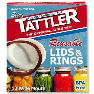 Tattler 1020 Wide Mouth Canning Lids With Rubber Rings, Count of 12