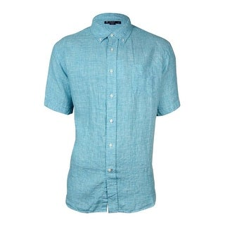 Cremieux Men's Nailhead Laundered Linen Shirt