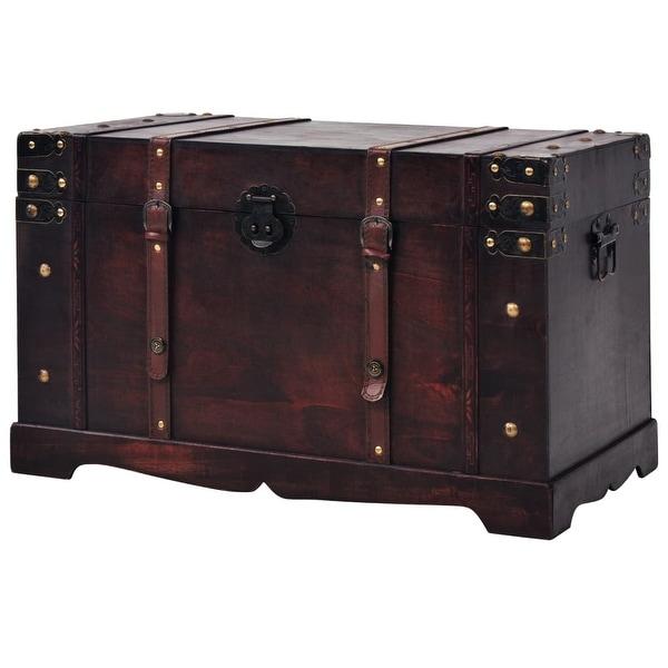 "vidaXL Vintage Treasure Chest Wood 26""x15""x15.7"". Opens flyout."