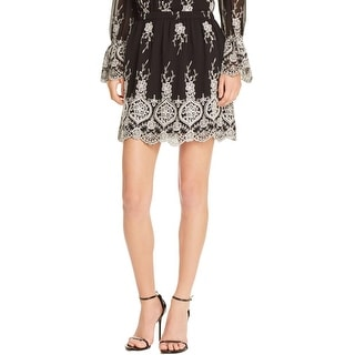 WAYF Womens Mini Skirt Embroidered Pull On