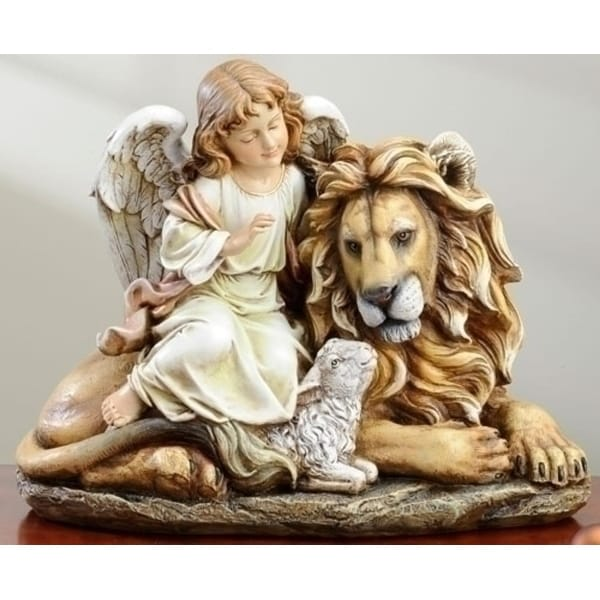 "14.5"" Joseph's Studio Lion, Lamb and Angel Christmas Figure - brown"
