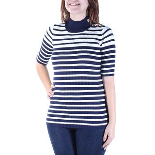Womens Blue Striped Short Sleeve Turtle Neck Top Size S