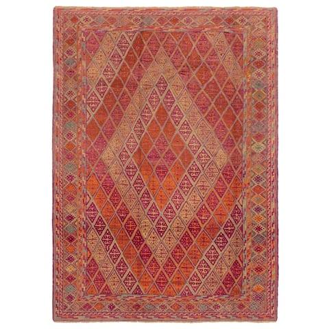 ECARPETGALLERY Hand-knotted Tajik Caucasian Purple Wool Rug - 6'4 x 9'2