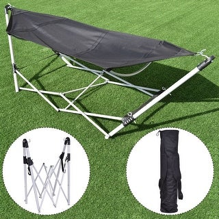 Costway Black Portable Folding Hammock Lounge Camping Bed Steel Frame Stand W/Carry Bag