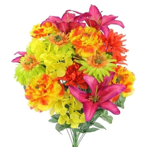 Admired By Nature GPB7357-FESTIVE 24 Stems Faux Full Blooming Ranunculus Lily Hydrangea Mixed Flower Bush - Festive