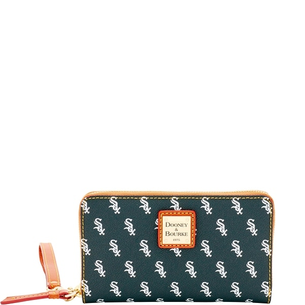 Dooney & Bourke MLB White Sox Zip Around Phone Wristlet (Introduced by Dooney & Bourke at $118 in Mar 2016) - Black