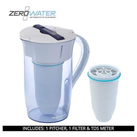 ZeroWater 10 Cup Round Pitcher, 2 Filter & TDS Meter, ZR-0810-4