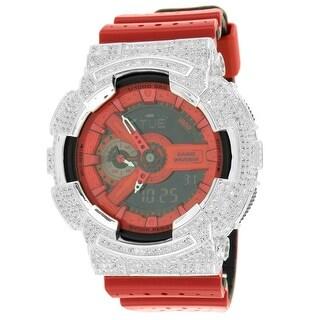 Mens GA1110LPA-4A GShock Watch Red Resin Band Simulated Diamonds Analog-Digital Custom