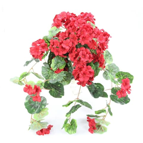 Artificial Flowers and Mixed Bush Stems Arrangement - ABN1B007-RD - Red - 24