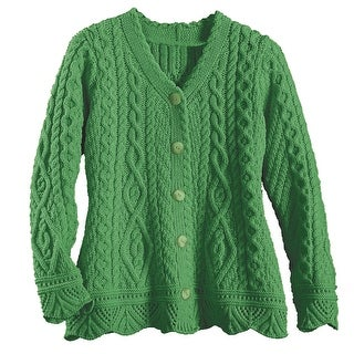 Women's County Kildare Cable Knit Button Down Cardigan Sweater