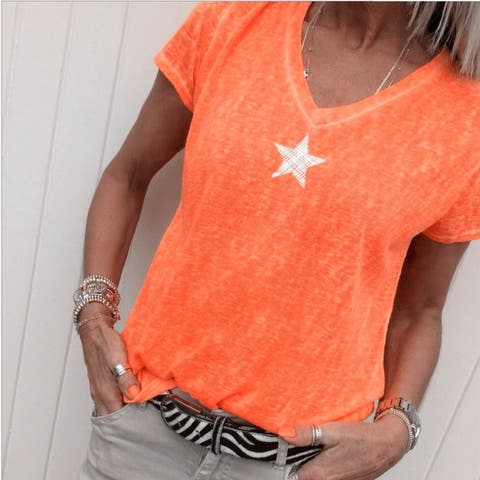 Summer Star Print Plus Size Casual V-Neck T-Shirt