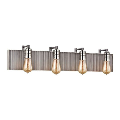 Exposed Bulb Four Light Bath Vanity with Steampunk Style - Industrial Bathroom Light with