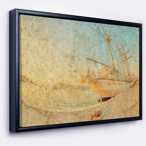 Designart 'Old Sailing Ship in Sunlight' Extra Large Seascape Art Framed Canvas