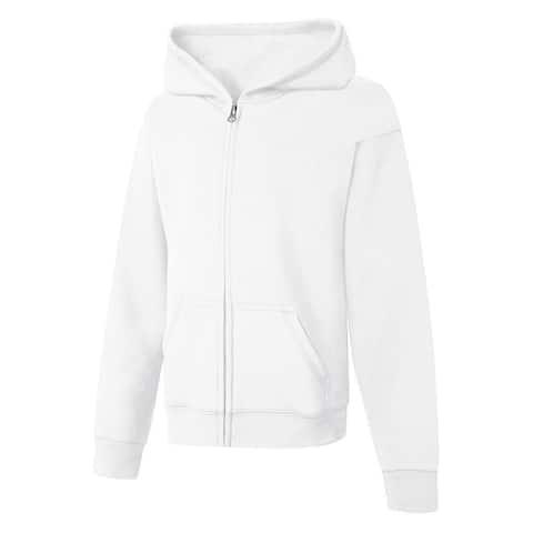 Hanes ComfortSoft EcoSmart® Girls' Full-Zip Hoodie Sweatshirt - Size - M - Color - White