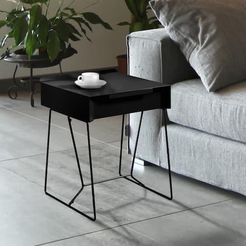 Furniture of America Omer Modern 18-inch Metal 1-drawer Side Table