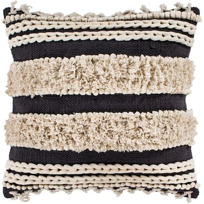 "Rylie Charcoal Bohemian Braided Shag Throw Pillow Cover (18"" x 18"")"