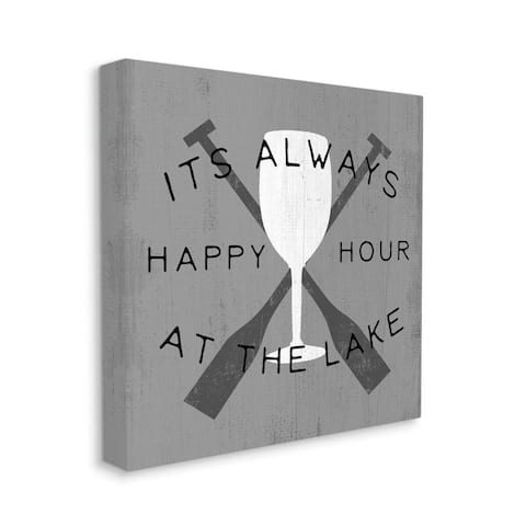 Stupell Industries Always Happy Hour at Lake Grey Boat Oars Canvas Wall Art - White