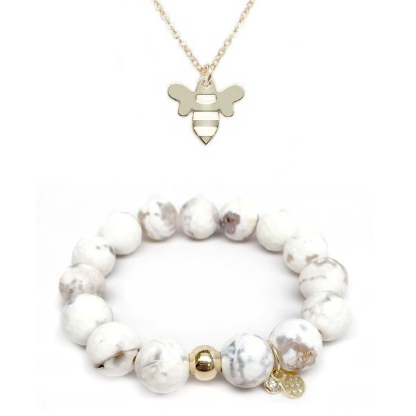 White Agate Bracelet & Bee Gold Charm Necklace Set