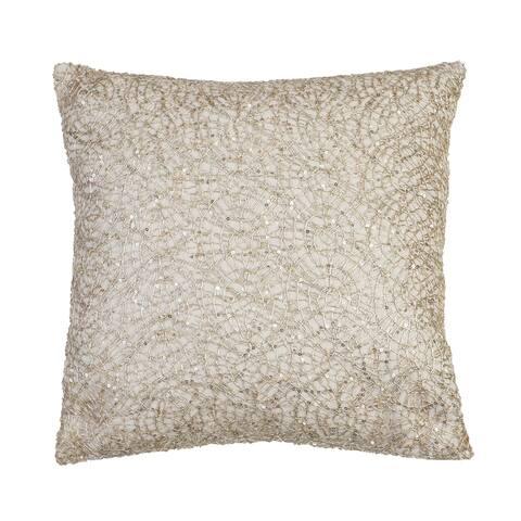 19x19 Philip Lace Sequin Faux Linen Pillow