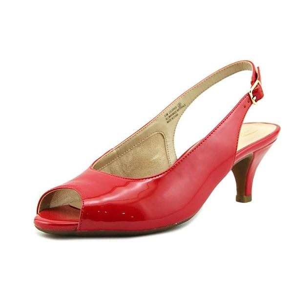 Aerosoles Escapade Women Peep-Toe Patent Leather Red Slingback Heel