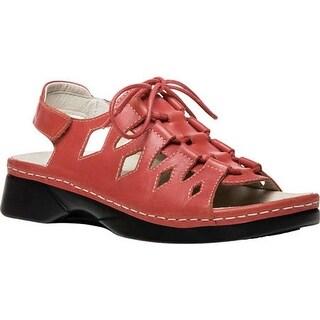 Propet Women's Ghillie Walker Slingback Sandal Coral Full Grain Leather