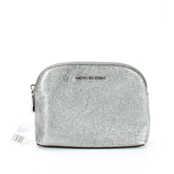 c82092e1f24077 Shop Michael Kors Pewter Silver Medium Crackled Leather Travel Pouch - Free  Shipping Today - Overstock - 22200756