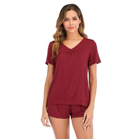 Haute Edition V-Neck Tee and Matching Short Lounge Pajama Set