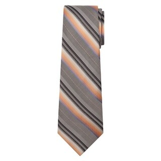 Marquis Men's Gray And Orange Stripes 3 1/4 Tie & Hanky Set TH100-031