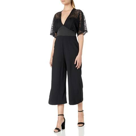 XOXO Womens Jumpsuit Black Size Medium M Kimono Lace Cropped Crepe