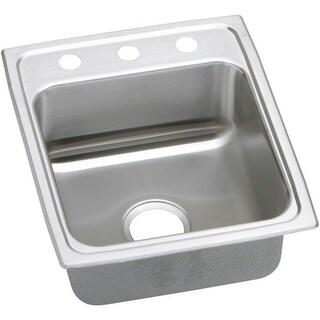 """Elkay LRAD172055 Gourmet 17"""" Single Basin Drop In Stainless Steel Bar Sink"""