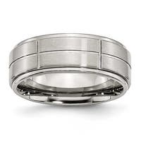 Chisel Grooved Brushed and Polished Stainless Steel Ring (8.0 mm) - Sizes 6-13