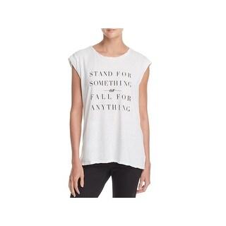 Pam & Gela Womens Stand for Something Slogan T-Shirt Lightweight Scoop Neck