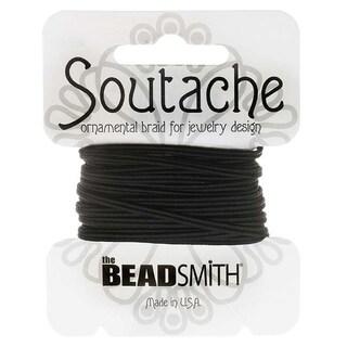 BeadSmith Soutache Braided Cord 3mm Wide - Black (3 Yard Card)