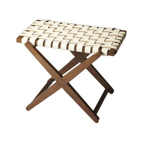 Modern Expressions Wood and Leather Luggage Rack - Multicolor