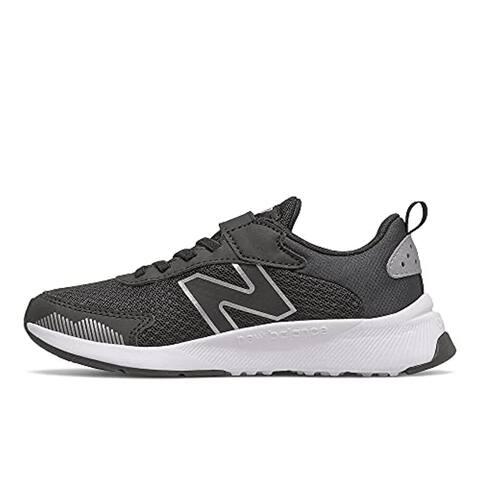 New Balance Boy's DynaSoft 545 V1 Hook and Loop Running Shoe, Black/White/Silver Metallic